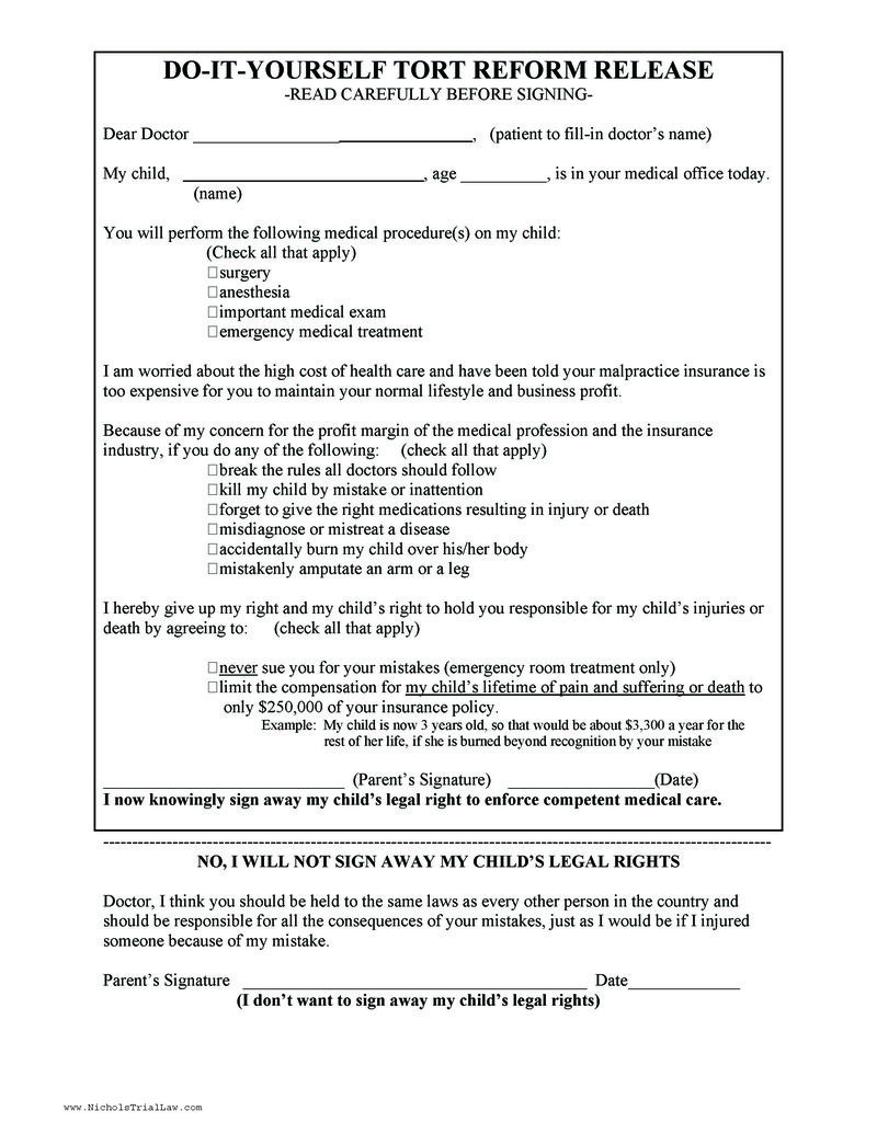 Do it Yourself Medical Malpractice Tort Reform Release